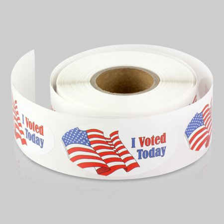 Oval I Voted Today Stickers with USA Flag (2 x 1 inch, 300 Labels per Roll, 2 Rolls, Red White Blue) for Election Day, Voting, or Patriotic ()