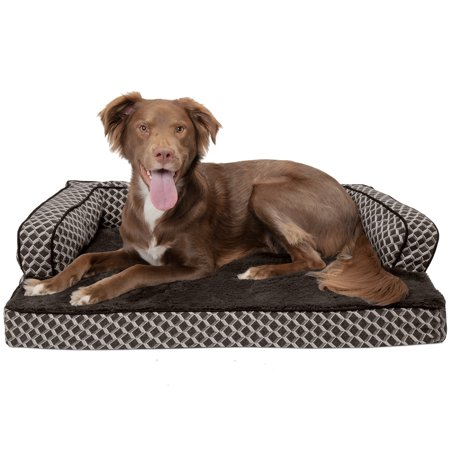 Comfy Pet Couch - FurHaven Pet Dog Bed | Cooling Gel Memory Foam Orthopedic Plush & Decor Comfy Couch Pet Bed for Dogs & Cats, Diamond Brown, Large