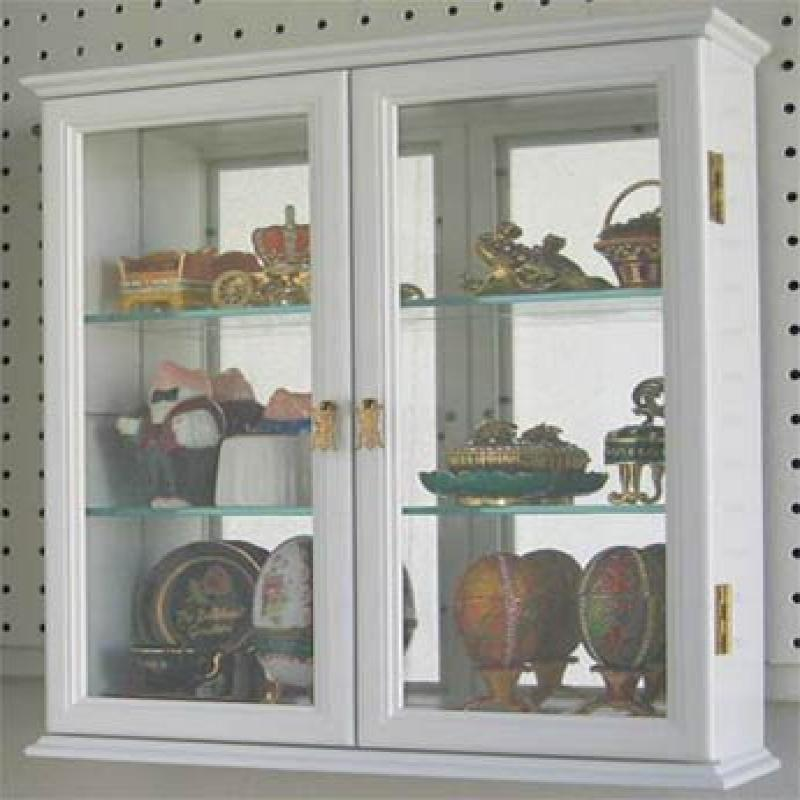 Small Wall Mounted Curio Cabinet / Wall Display Case With Glass Door (White)