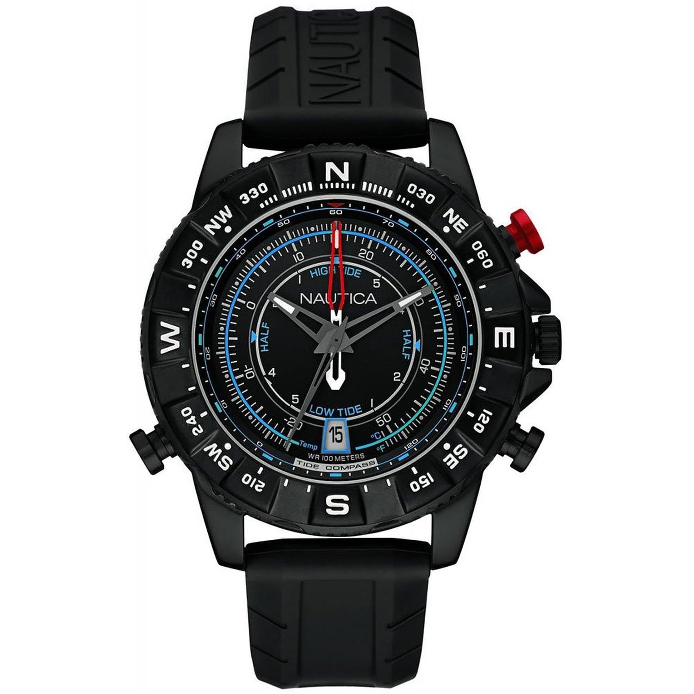 Nautica Men's 47mm Black Silicone Band IP Steel Case Quartz Analog Watch NAI21001G by Nautica
