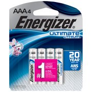 Energizer Ultimate Lithium AAA Batteries, 4 Pack