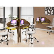 Manhattan Comfort Bradley Floating 2-Piece Cubicle Section Desk with Keyboard Shelf in Rustic Brown and Yellow