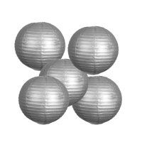"""8"""" Paper Chinese Lantern Lamp Shade Hanging Party Event Set - Silver - 12 PCS"""