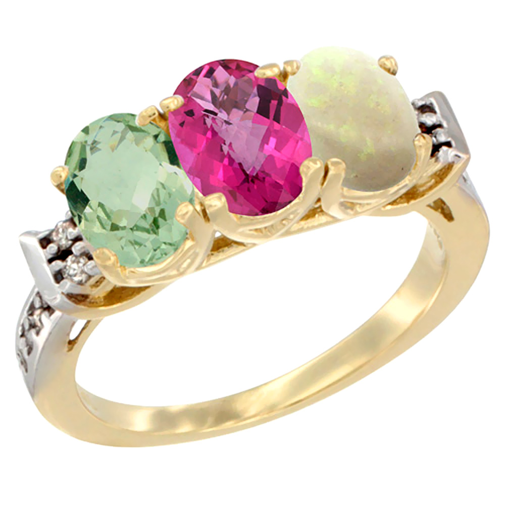 10K Yellow Gold Natural Green Amethyst, Pink Topaz & Opal Ring 3-Stone Oval 7x5 mm Diamond Accent, sizes 5 10 by WorldJewels