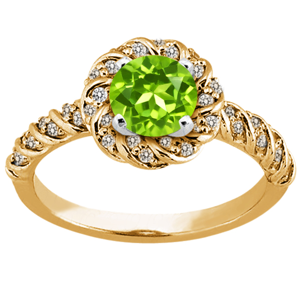 1.78 Ct Round Green Peridot 925 Yellow Gold Plated Silver Ring by