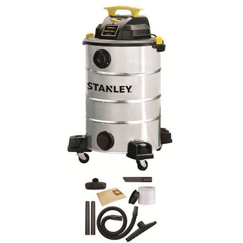 Stanley, SL18156-12A, 12-Gallon 5.5 Peak HP, Stainless Steel Wet/Dry Vacuum