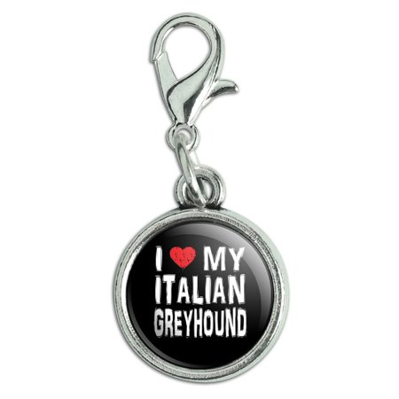 Love Kids Italian Charm - I Love My Italian Greyhound Stylish Antiqued Bracelet Pendant Zipper Pull Charm with Lobster Clasp