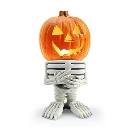 pumpkin people skeleton resin pumpkin statue indoor/outdoor halloween pumpkin statue for backyard, lawn or garden - iconic, hand painted, weatherproof, creepy, scary - made of resin by 3b global