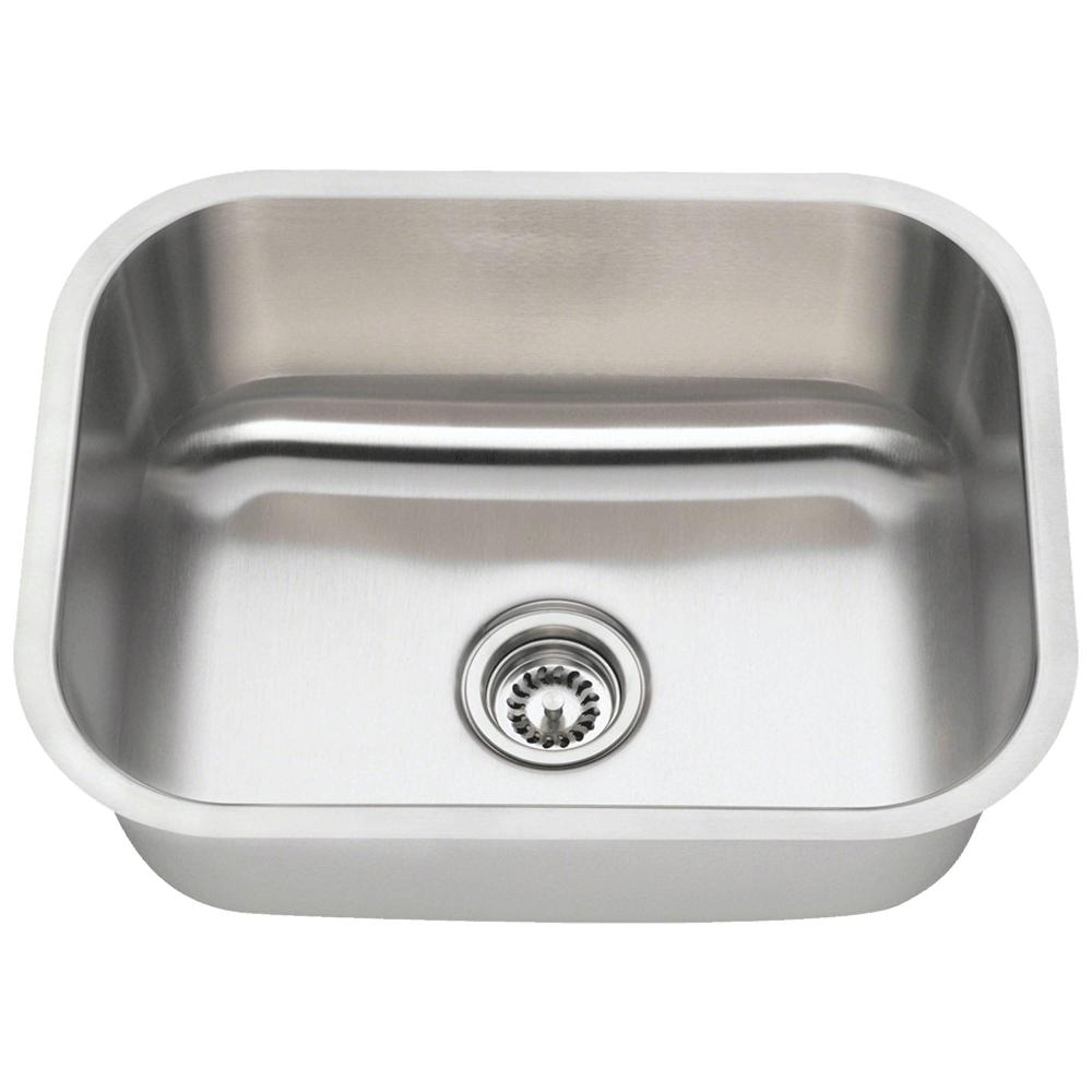MR Direct 2318 16 Gauge Undermount Stainless Steel 23 In. Single Bowl Kitchen  Sink