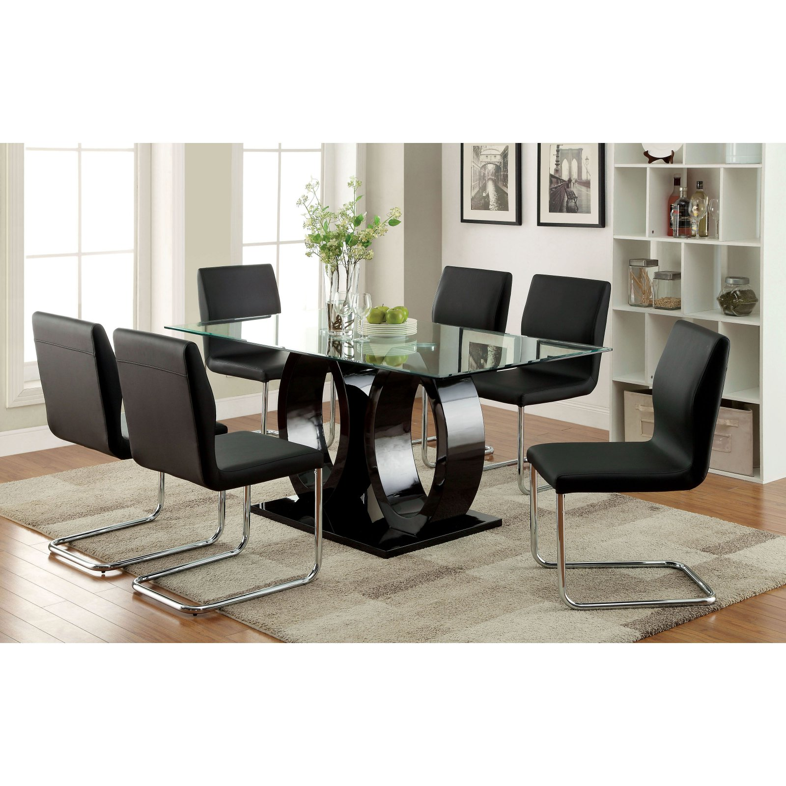 Furniture of America Damore Contemporary High Gloss Dining Table