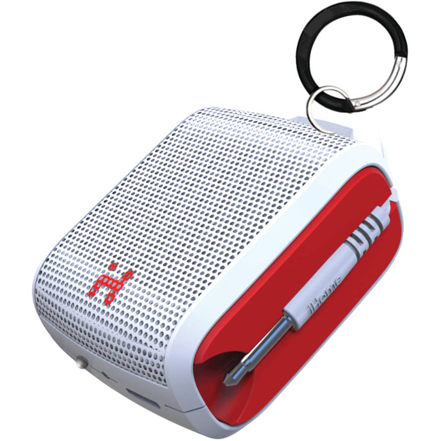 iHome iM54WRC Rechargeable Mini Speaker, White/Red