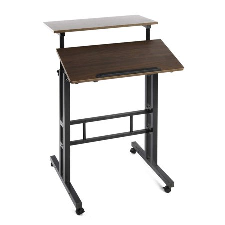 Qwork Wheel Mobile Stand up Computer Desk Height Adjustable Cart Tilting Table with Dual Surface Sit-Stand Desk Home Office Computer Workstation Ergonomic Desk, Original Oak
