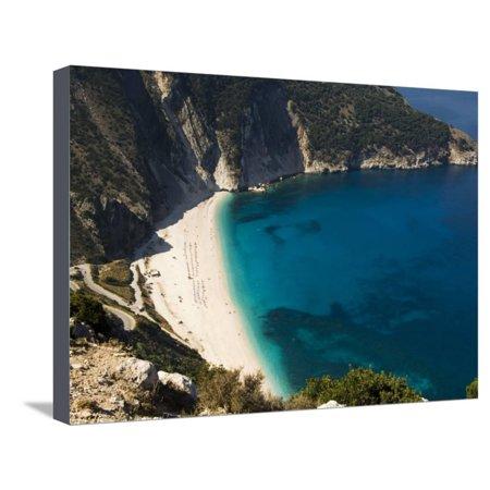 Myrtos Beach, the Best Beach for Sand Near Assos, Kefalonia (Cephalonia), Ionian Islands, Greece Stretched Canvas Print Wall Art By R H