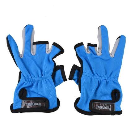 Pair Black Sky Blue Dotted Nonslip Palm 3 Cut Fingers Angler Fishing Gloves - image 1 de 1
