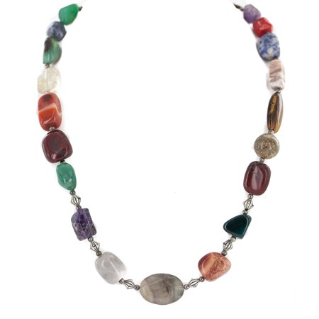 - .925 Sterling Silver Certified Authentic Navajo Natural Amethyst Jade Agate Lapis Jasper Quartz Carnelian Tigers Eye Multicolor Native American Necklace