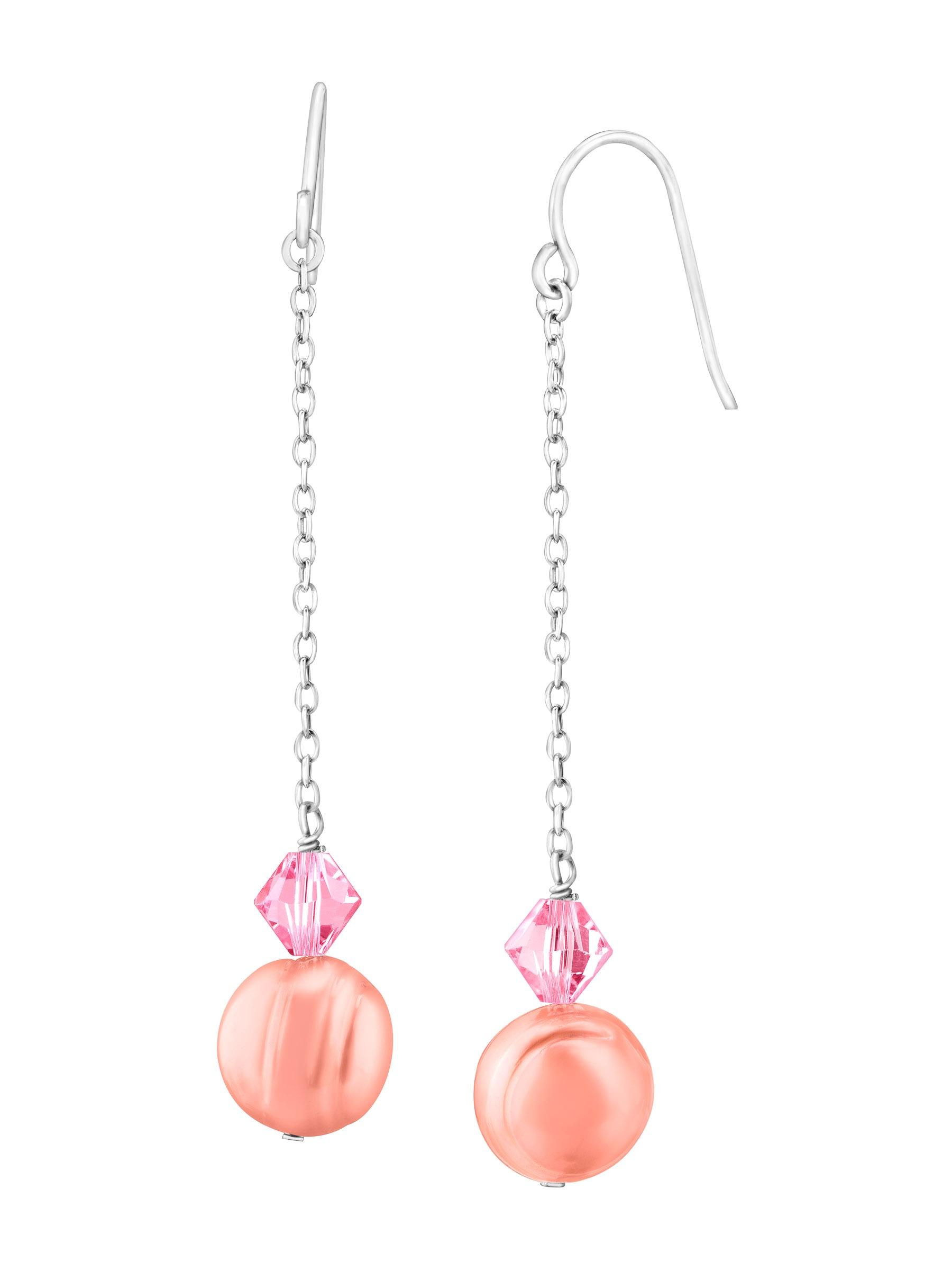 Honora Raspberry Freshwater Pearl Drop Earrings with Swarovski Crystals in Sterling Silver