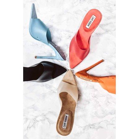 Cape Robbin Rainbow Rain Orange Jelly Sandal Mule Pointy Open Toe Stiletto Heels