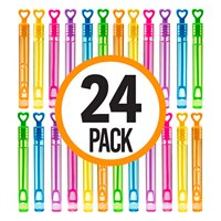 Mini Touchable Bubble Wands Neon Colored Heart Shaped Fun Party Favor, Summer Toy for Kids-24 pack