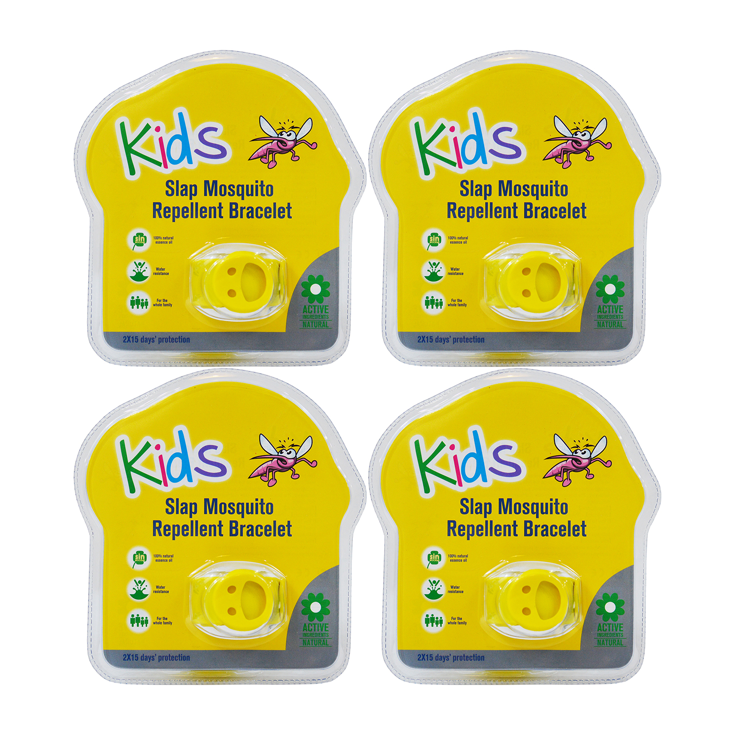 Slap 4 Pack Mosquito Repellent Smiley Bracelet w  Two Refill Pellets by Kinven