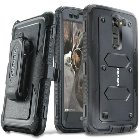 COVRWARE® LG K7 / Tribute 5 / Escape 3 / Treasure / Phoenix 2 [Aegis Series] Heavy Duty Dual-Layer Full-body w/ Built-in [Screen Protector] Rugged Holster Armor Case & [Belt Clip][Kickstand], Black