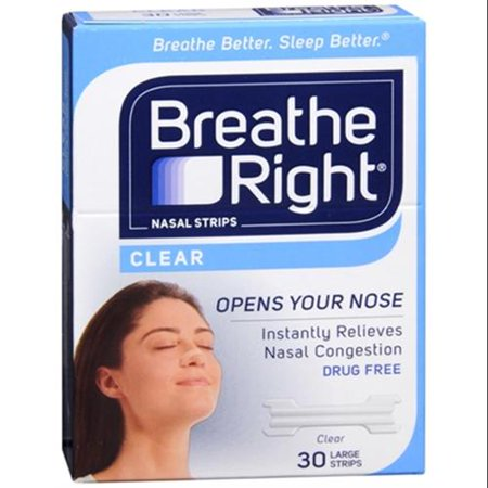 Breathe Right Nasal Strips Clear Large 30 Each  Pack Of 6