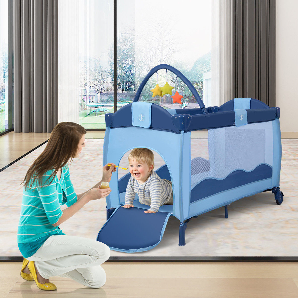 Foldable Baby Crib Playpen Playard Pack Travel Infant ...