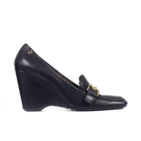 Prada Black Leather Wedges (Car Shoe By Prada Women's Black Leather Buckled Wedges )