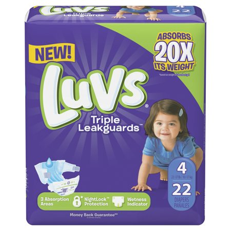 Luvs Triple Leakguards Extra Absorbent Diapers, Size 4, 22 Ct