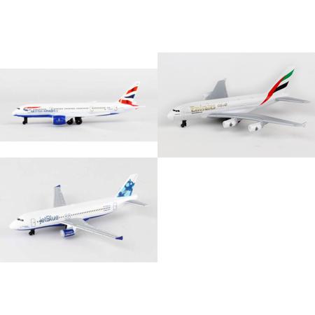 British Airways  Emirates  Jetblue Airlines Diecast Airplane Package   Three 5 5  Diecast Model Planes