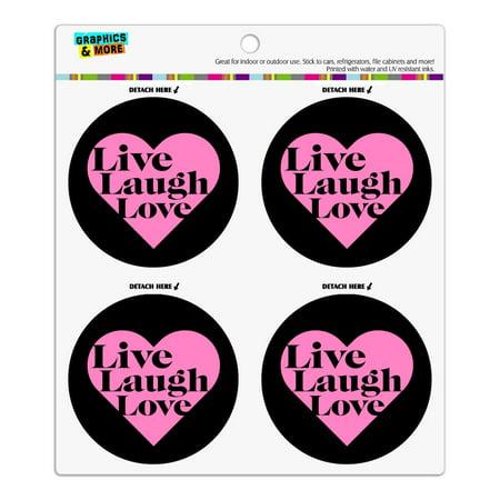 Live Laugh Love in Heart Refrigerator Fridge Locker Vinyl Circle Magnet Set Heart Fridge Magnet