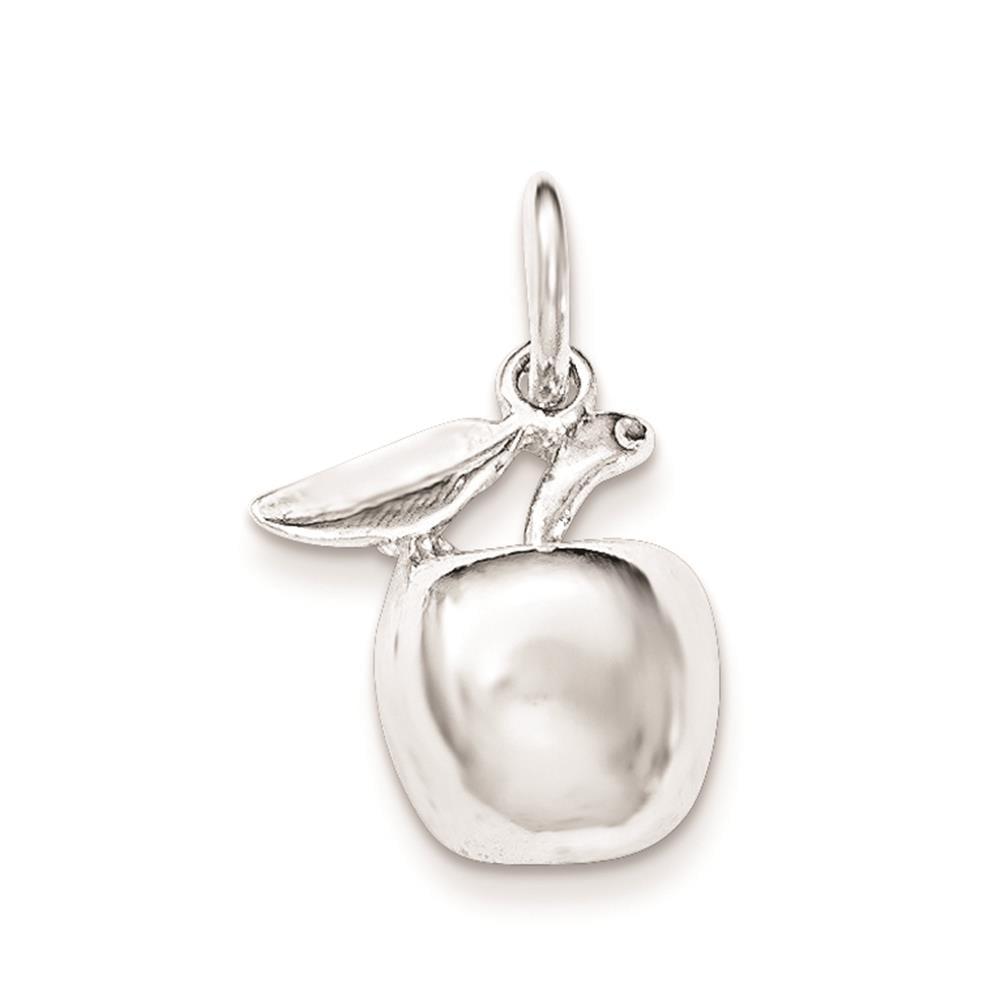 925 Sterling Silver Polished Apple Open-back Charm Pendant