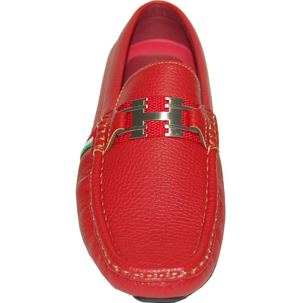 KRAZY SHOE ARTISTS Red Stallion with Green-Red Colors Stripe Ornament Mens Slip On