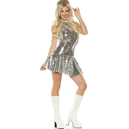 Dance Fever 1970'S Womens Short Halter Top Disco Party Dress Halloween Costume - Dance Party Costume Ideas