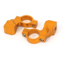 2 Pcs Gold Tone Motorcycle Handle Bar Mirror Mount Holder Aluminum Clamp