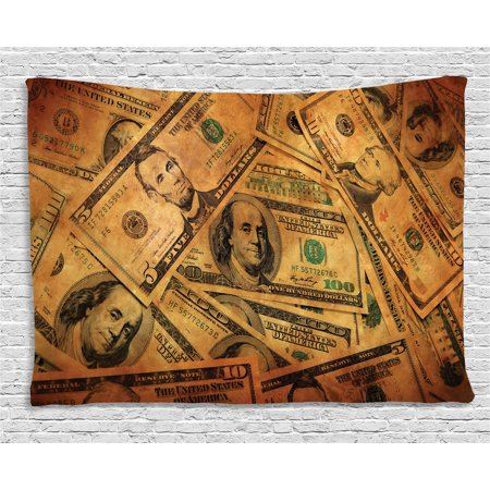 Money Tapestry  Grunge Style Background With Fiver Sawbuck And Century Note Important Figures  Wall Hanging For Bedroom Living Room Dorm Decor  60W X 40L Inches  Pale Green Brown  By Ambesonne