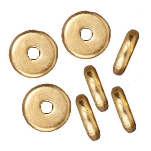 Bright 22K Gold Plated Lead-Free Pewter Disk Heishi Spacer Beads 6mm (10)