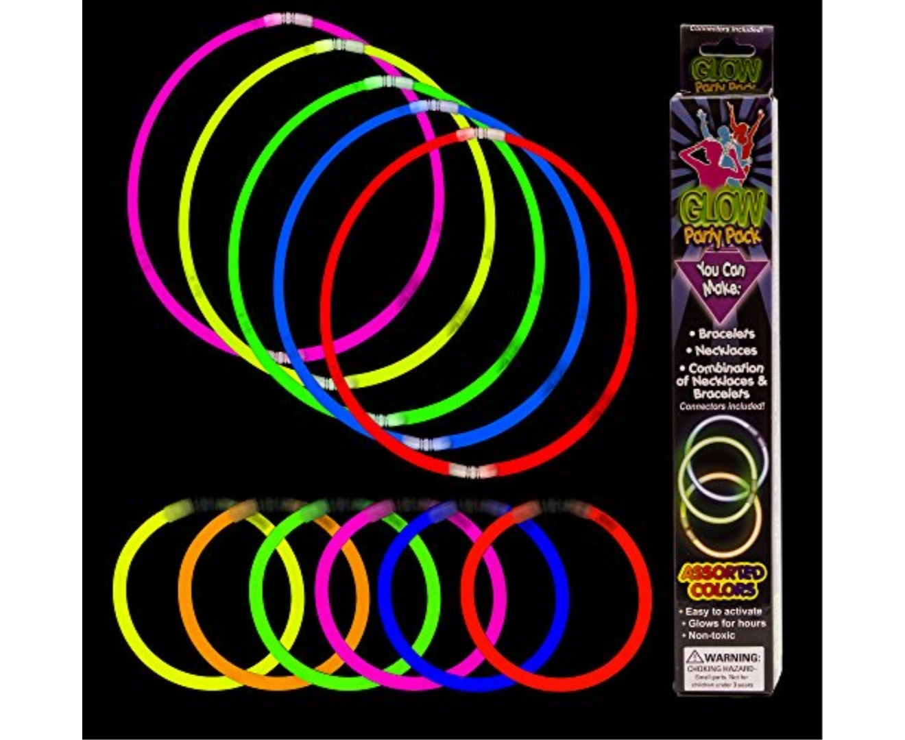 Fun Central M614 21pcs Glow In The Dark Bracelet And Necklace Kit Necklaces Stick Bracelets Orted