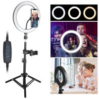 """10"""" Ring Light with Tripod Stand, EEEKit 12000K SMD 2835 LED Camera Selfie Light Ring with Tripod and Phone Holder for Video Photography Makeup Live Streaming, Compatible with iPhone Android Phone"""
