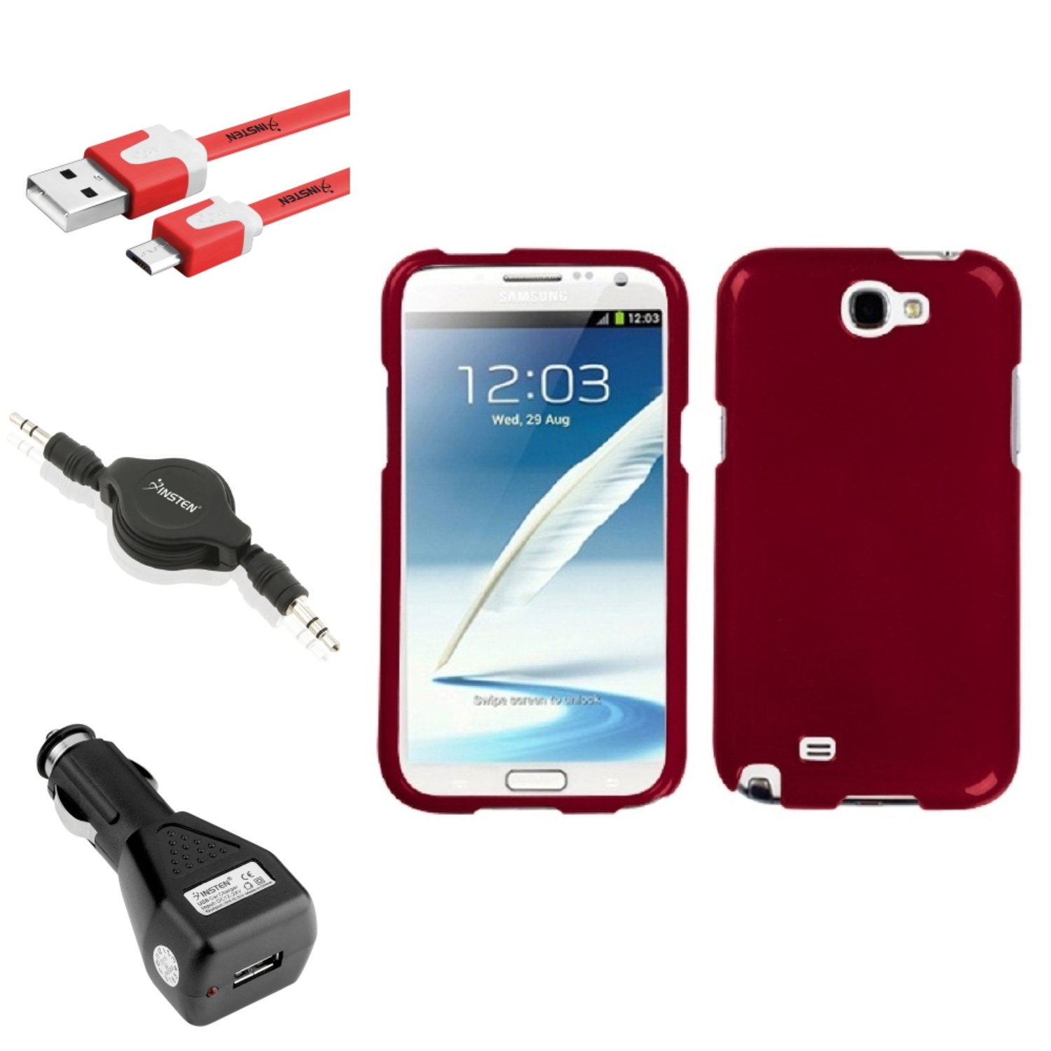 Insten Solid Red Hard Case Charger USB Audio Cable For Samsung Galaxy Note 2 II