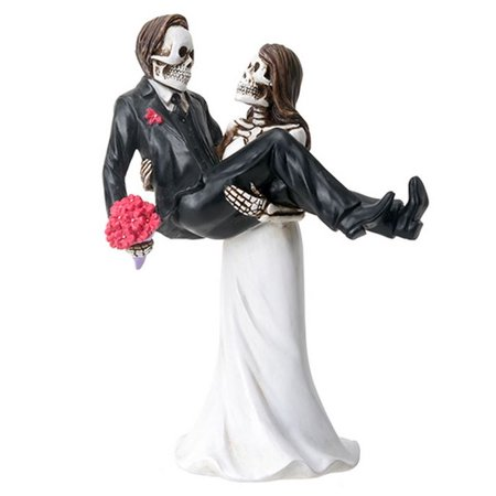 Skeleton Wedding Couple Bride Carrying the Groom Day of the Dead Figurine