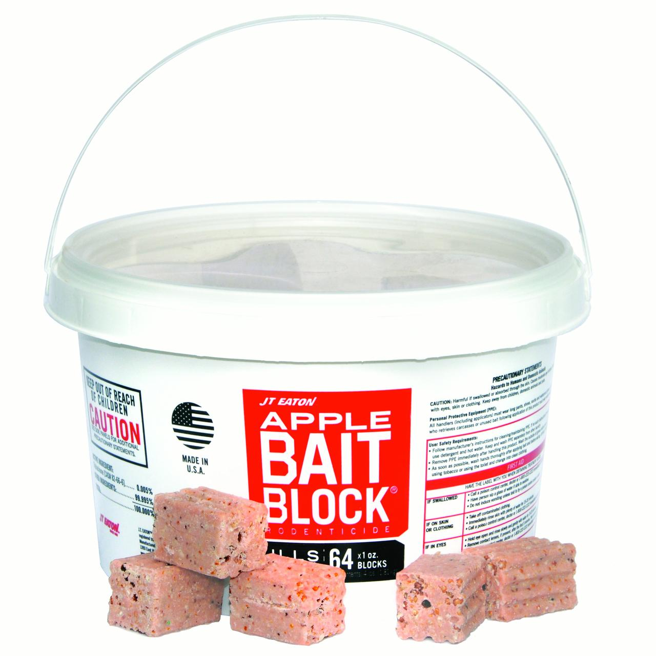 JT Eaton 704-AP Block Rodenticide Anticoagulant Bait for Mice and Rats, Apple Flavor, Pail of 64