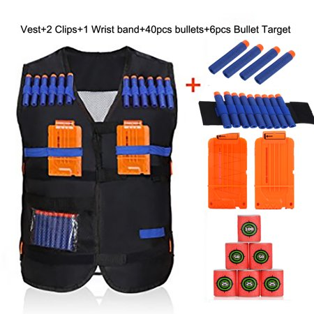 Adjustable Kids Tactical Vest with 40Pcs Foam Bullets,2Pcs Darts Clips ,6pcs Bullet Target and 1Pcs Wristband for EVA Nerf Gun N-strike Elite Series (Expanding Bullets)