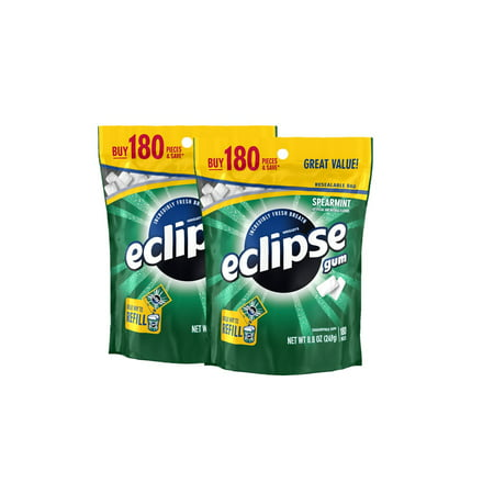 (2 Pack) Eclipse, Sugar Free Spearmint Chewing Gum, 180 -