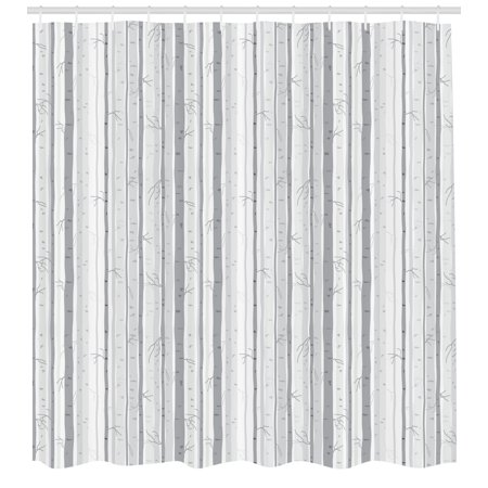 - Grey and White Shower Curtain, Birch Tree Grove Leafless Branches Winter Woodland Illustration, Fabric Bathroom Set with Hooks, 69W X 70L Inches, Grey Pale Grey White, by Ambesonne