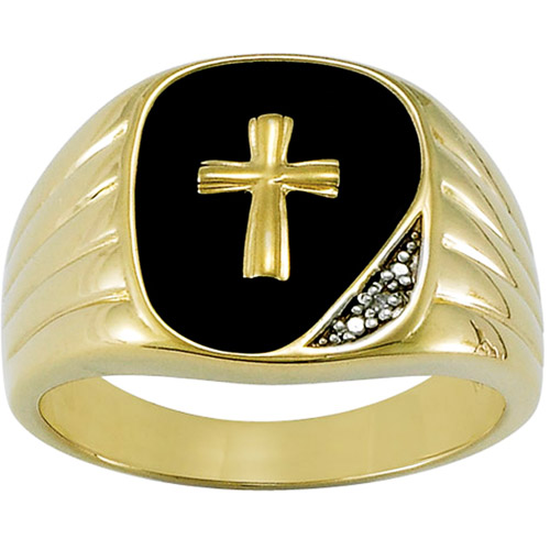 18kt Gold-Plated Genuine Black Onyx and Diamond Accent Cross  Ring
