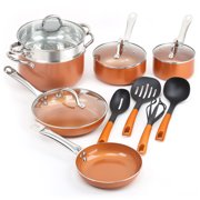 SHINEURI Copper Non-stick Frying Pans Cooking Pots and Pans with Ceramic and Induction Cookware Set Kitchen Set
