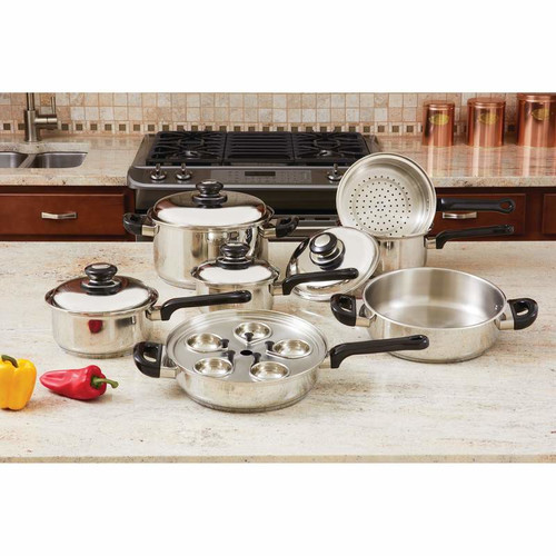 Chef's Secret 17 Piece Stainless Steel Cookware Set