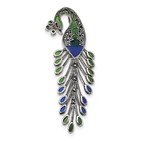 Abalone Sterling Silver Slide Pendant - 925 Sterling Silver Green/red/blue Epoxy Marcasite Peacock Slide Necklace Pendant Charm Omega Bird Gifts For Women For Her