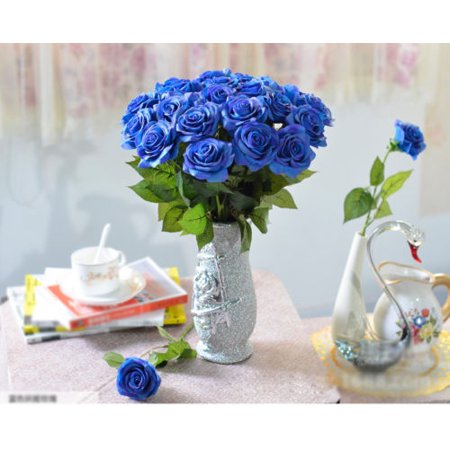 iMeshbean Colorful 20 Head Real Latex Touch Rose Flowers for Wedding Home Design & Bouquet Decoration USA (Blue) (Red Wooden Roses)