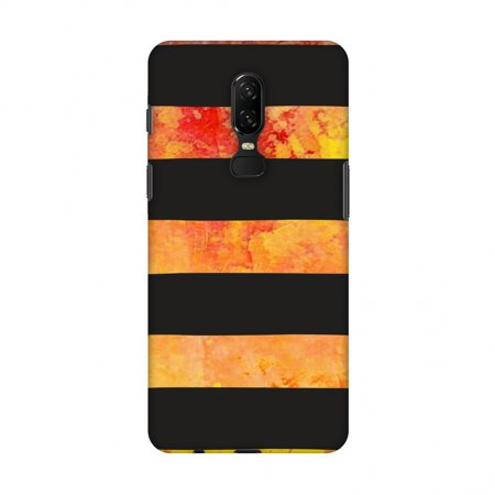 OnePlus 6 Case - Bees - Fat Stripes - Multicolour Overlay, Hard Plastic Back Cover, Slim Profile Cute Printed Designer Snap on Case with Screen Cleaning (Fat Stripes)